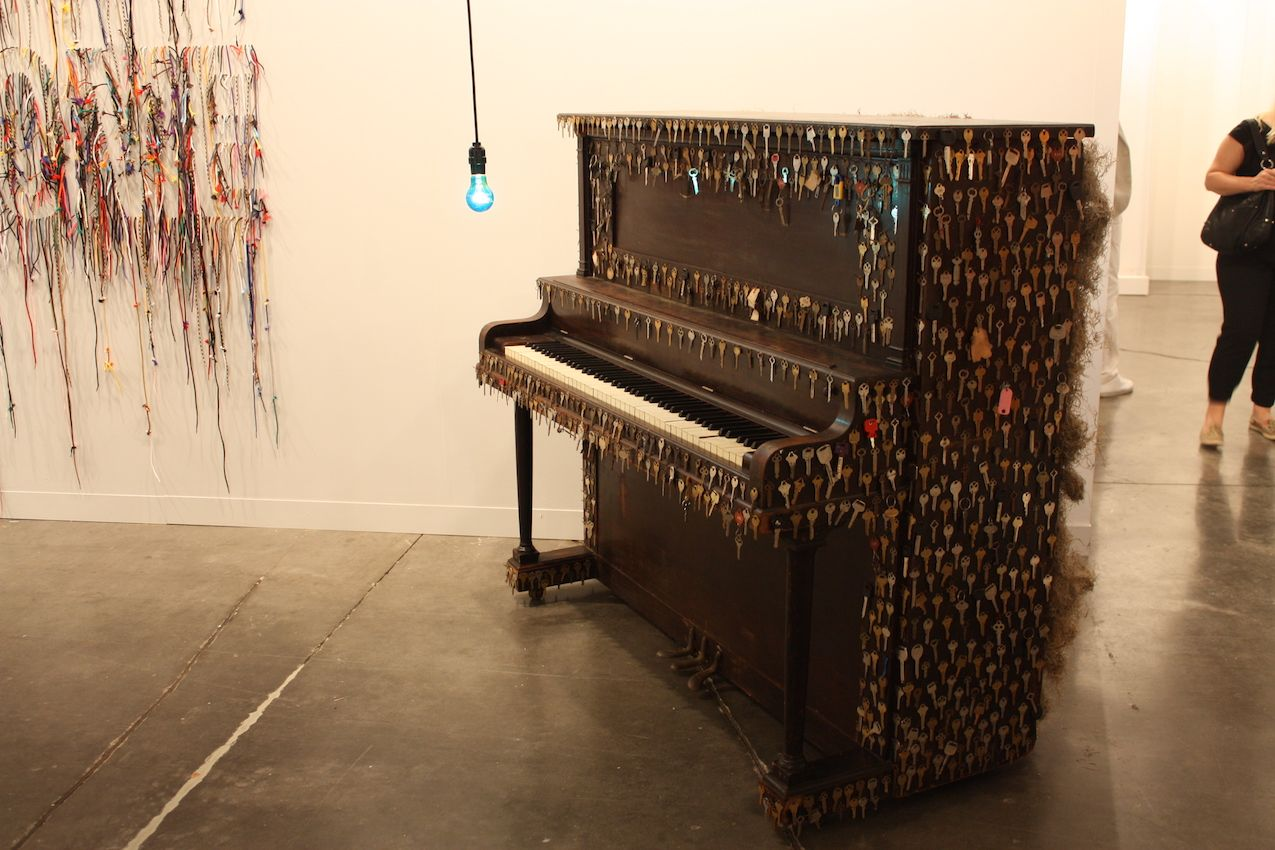 A play on the concept of keys, this was one of the interesting, eccentric pieces centered on furniture at Art Basel.