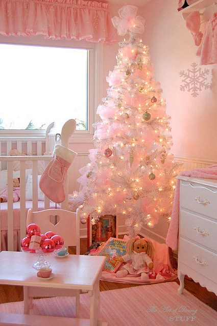 Pink Nursery room decorated for Christmas