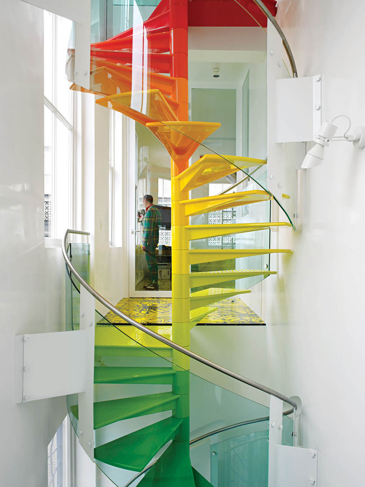 Rainbow spiral staircase design