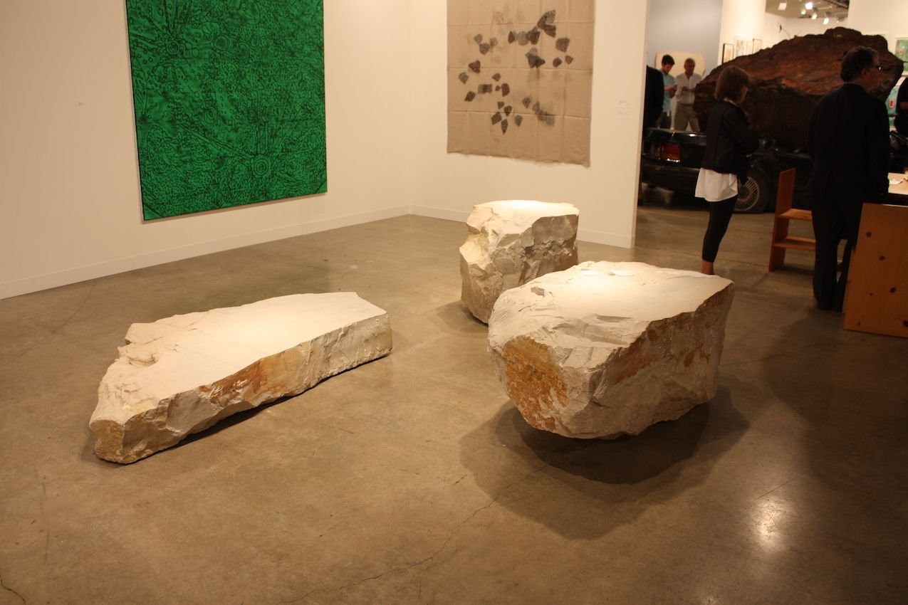 This trio of stones in the Peter Freeman Gallery -- art installation or seating? Your choice...