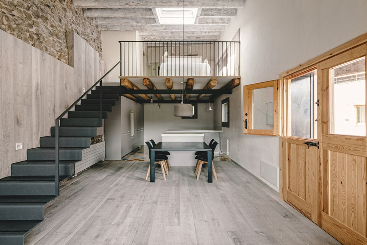 Rustic house gets rehabilitated in Spain - metal staircase