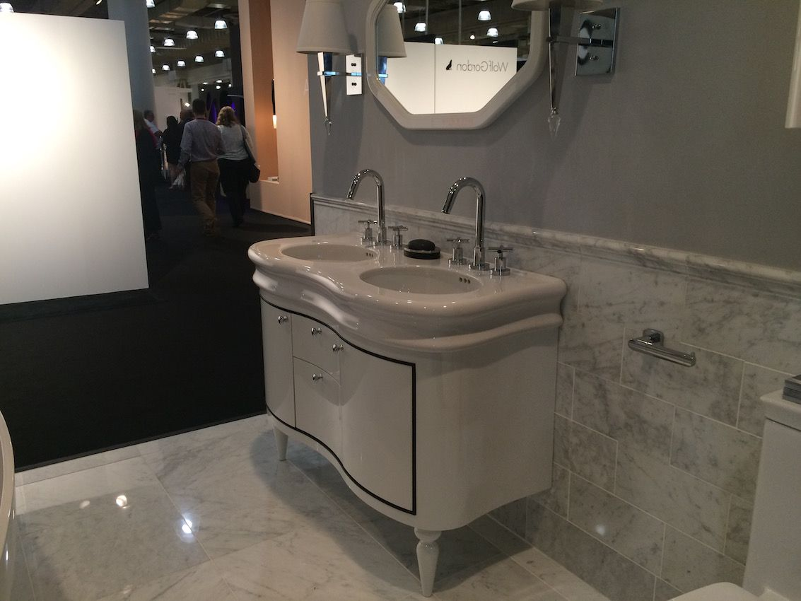 Versatile and modern, this retro double vanity is suitable for smaller spaces.