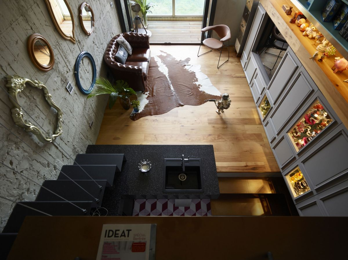 The Toy House apartment in New Taipei cowhide area rug