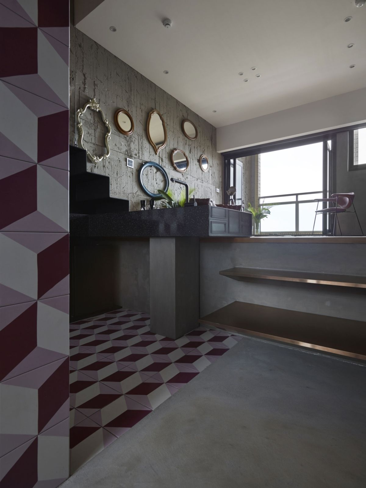 The Toy House apartment in New Taipei kitchen geometric floor tiles