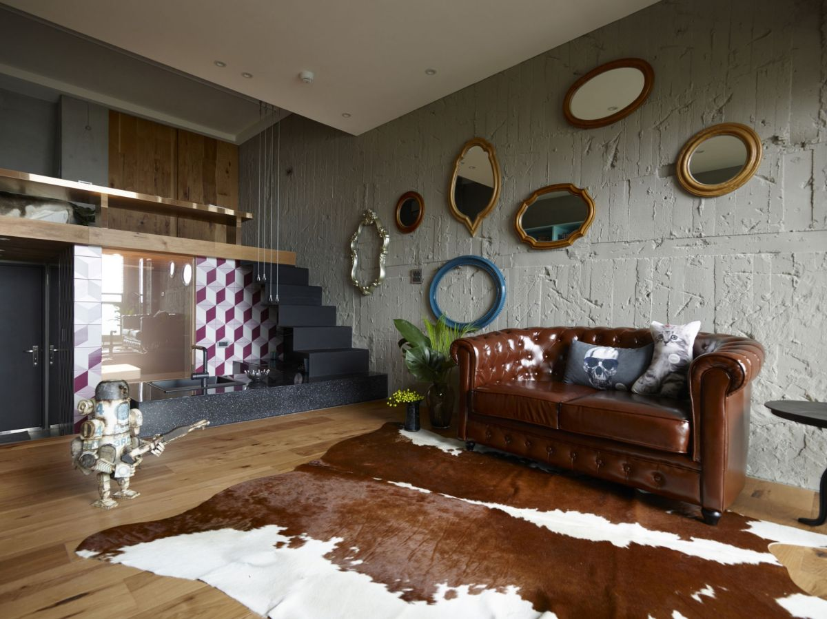 The Toy House apartment in New Taipei leather sofa