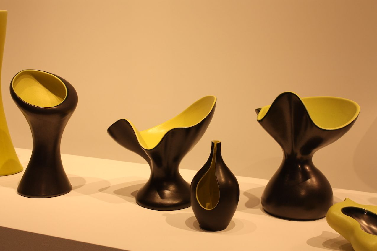 Fritsch also showed a wide range of ceramic vessels and objects, such as these by Artist Pol Chambost. Created in 1955, they are Black silver enameled ceramic with yellow interiors.