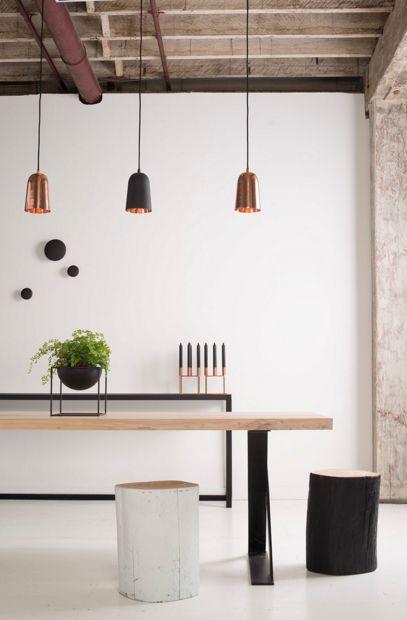 Trio of copper pendant lights