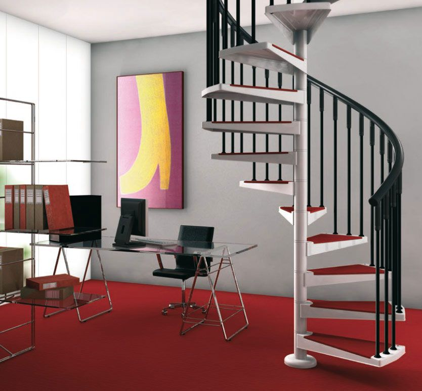 Two tone spiral staircase design