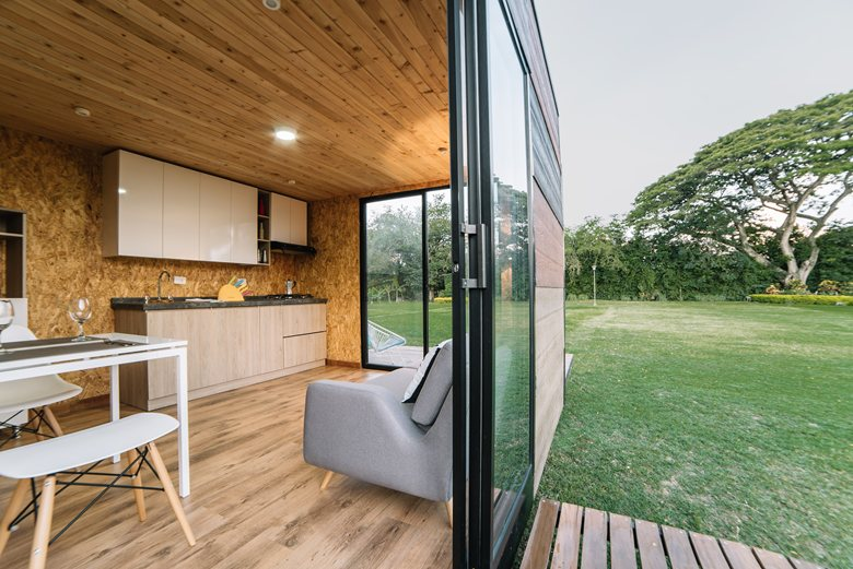 Vimob shelter by Colectivo Creativo sliding door connection to outdoors