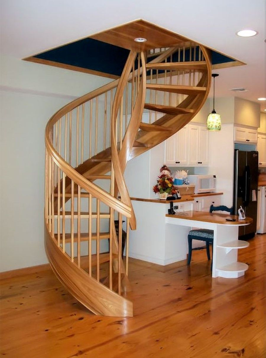 Wooden spiral staircase design