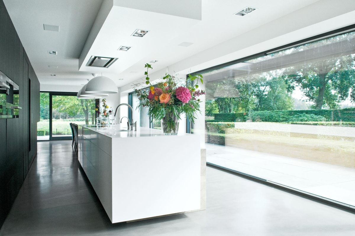 Woonhuis M residence makeover kitchen full height window