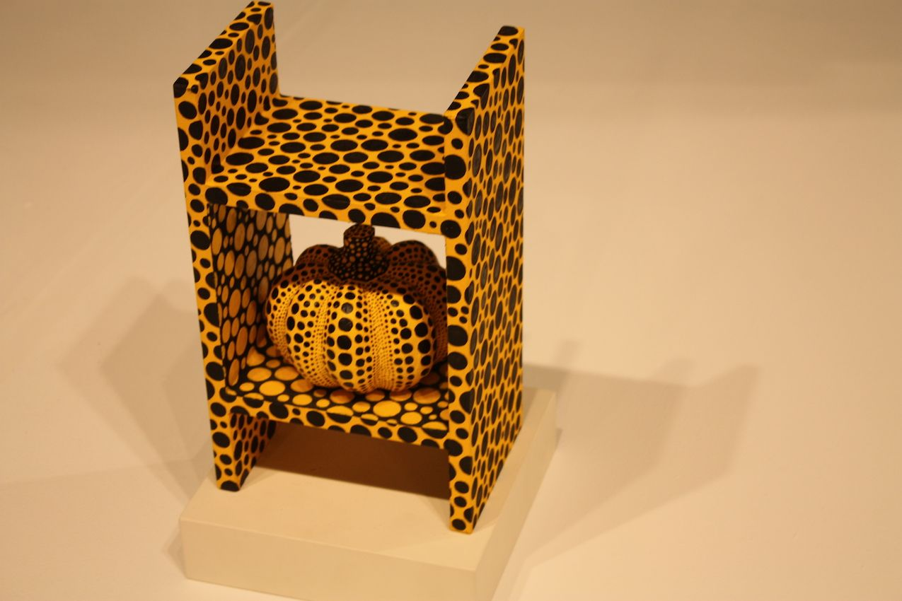 It might be a miniature, but Yayoi Kusama's shelf with a pumpkin is cute and whimsical.