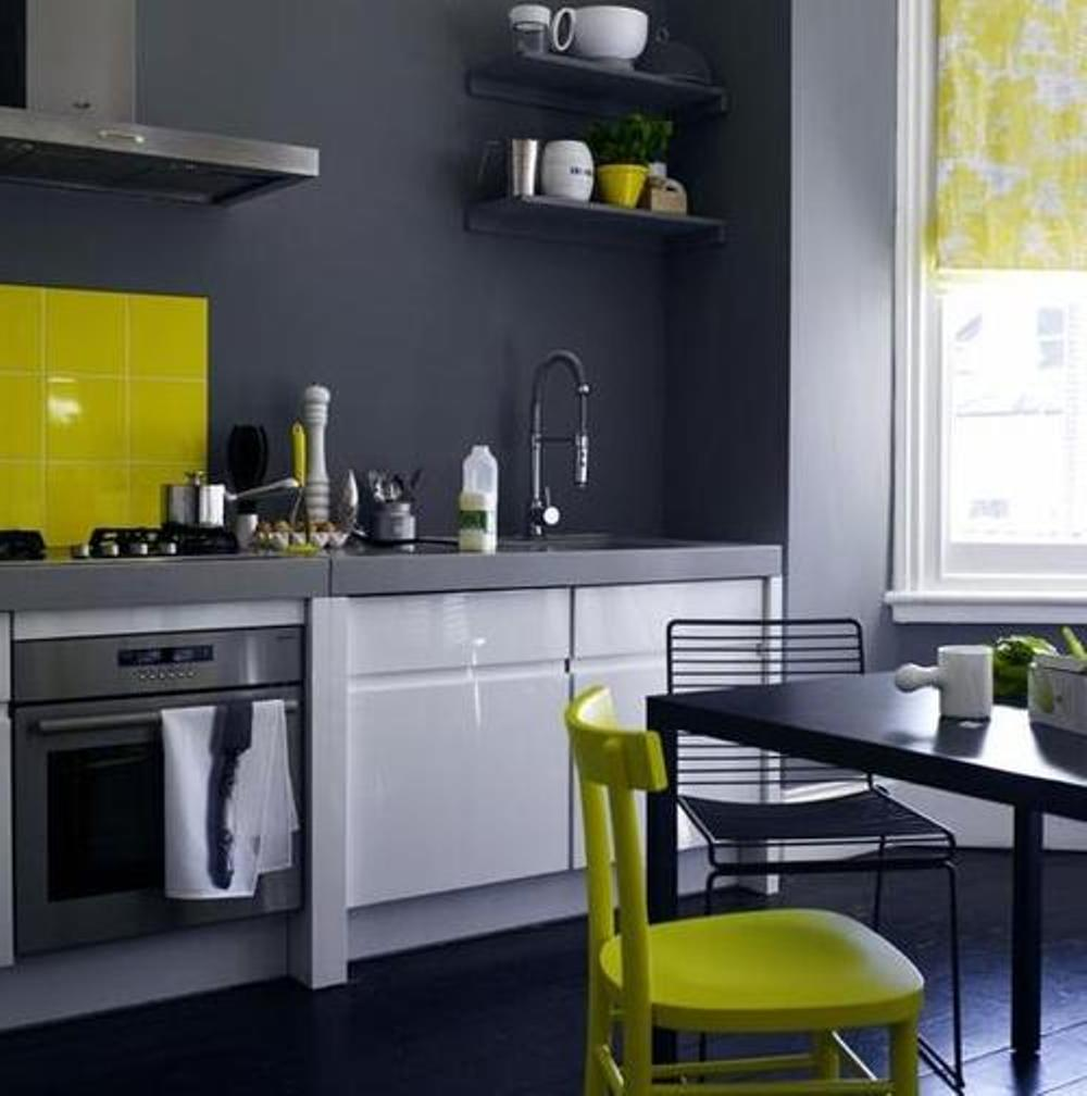 Yellow, White,u0026 Charcoal Kitchen