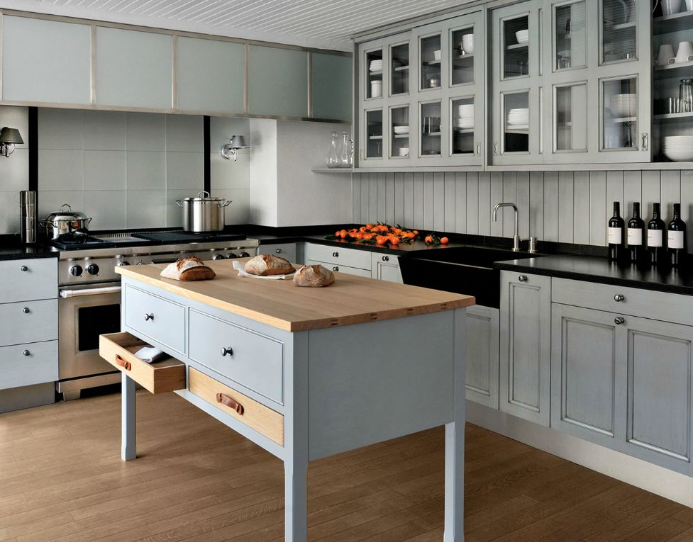 Country modern kitchen view in gallery