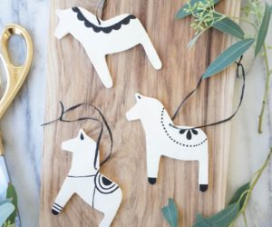 Scandinavian Christmas Dala Horse Ornaments