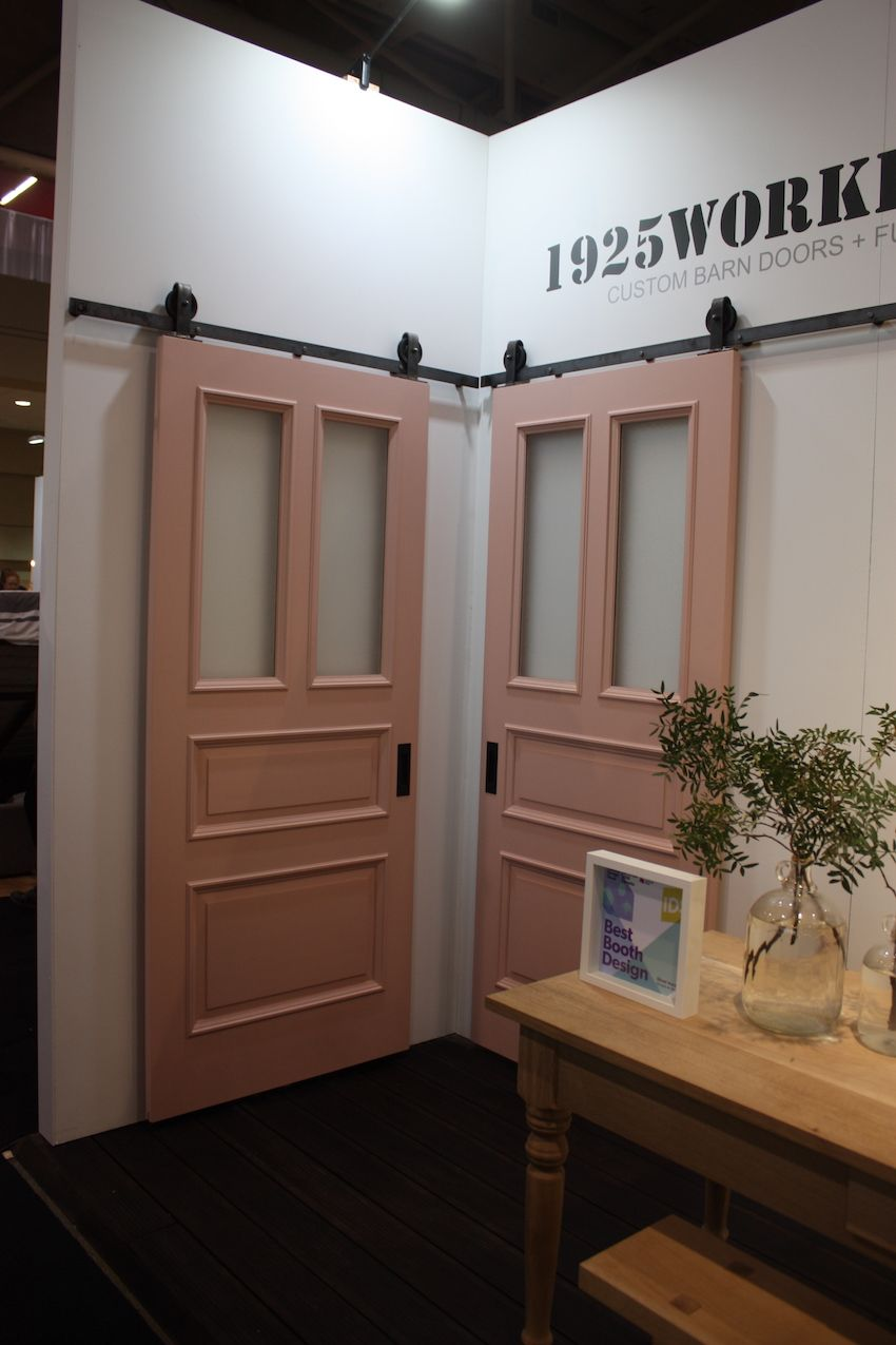 Even doors can be painted in pink, like these custom barn sliders by 1925WorkBench.