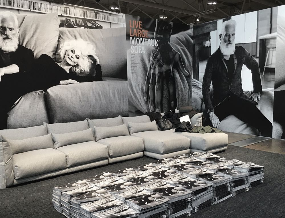 Montauk Sofa showed their massive -- and massively comfortable -- Alex Sofa at IDS Toronto. In fact, there were always so many people sitting on it that we had a hard time getting a good shot of it during the show. Now this is what we call a big comfy sofa!