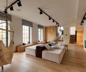 Apartment In Ukraine Designed With A Slide And A Dynamic Interior