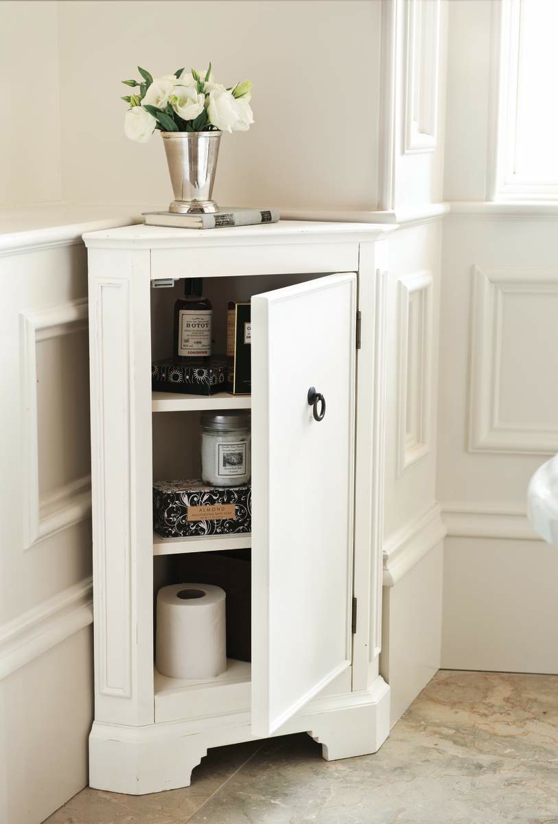 Awesome Small Corner Bathroom Cabinet Ideas Painted White Cabinet