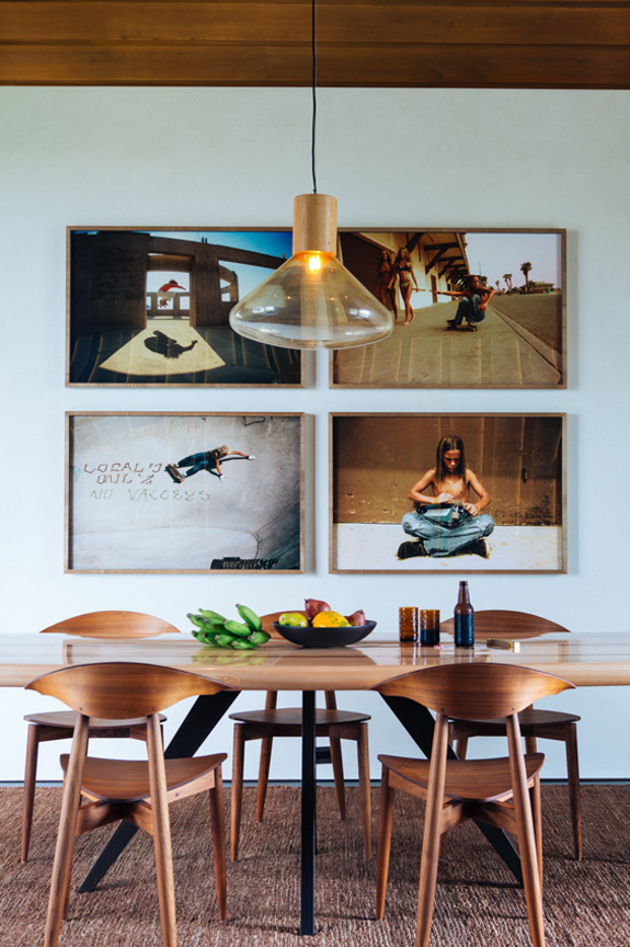 Beautiful walnut furniture for dining and framed wall art