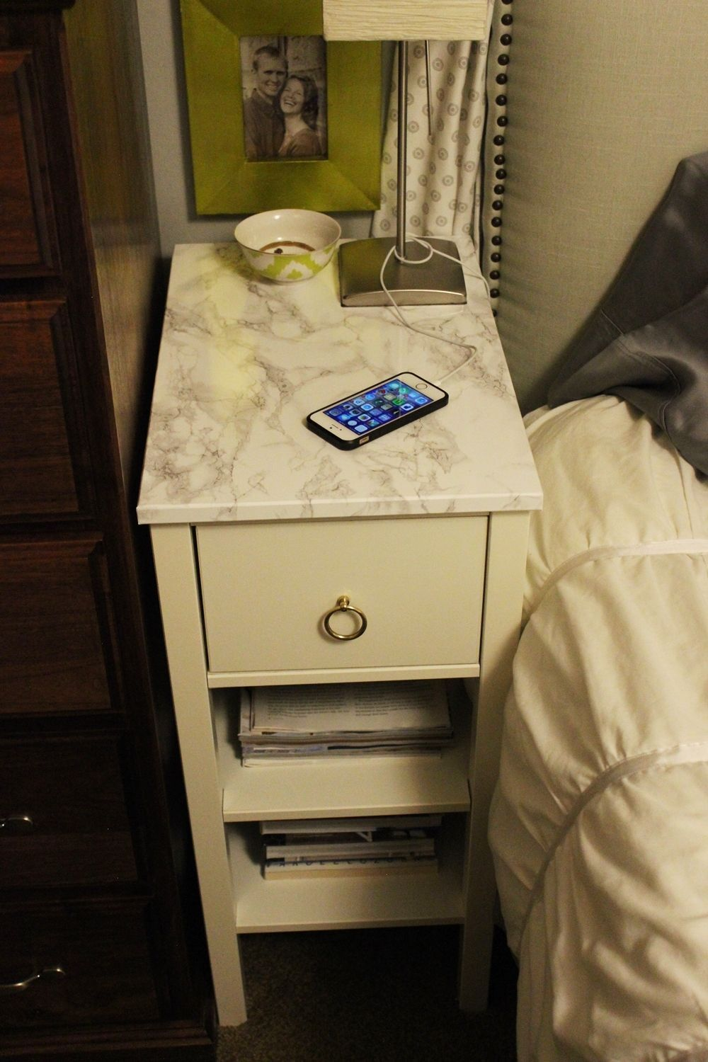 Bedroom small nightstand with marble contact paper on top