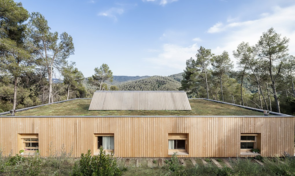 Bioclimatic green-roofed home back