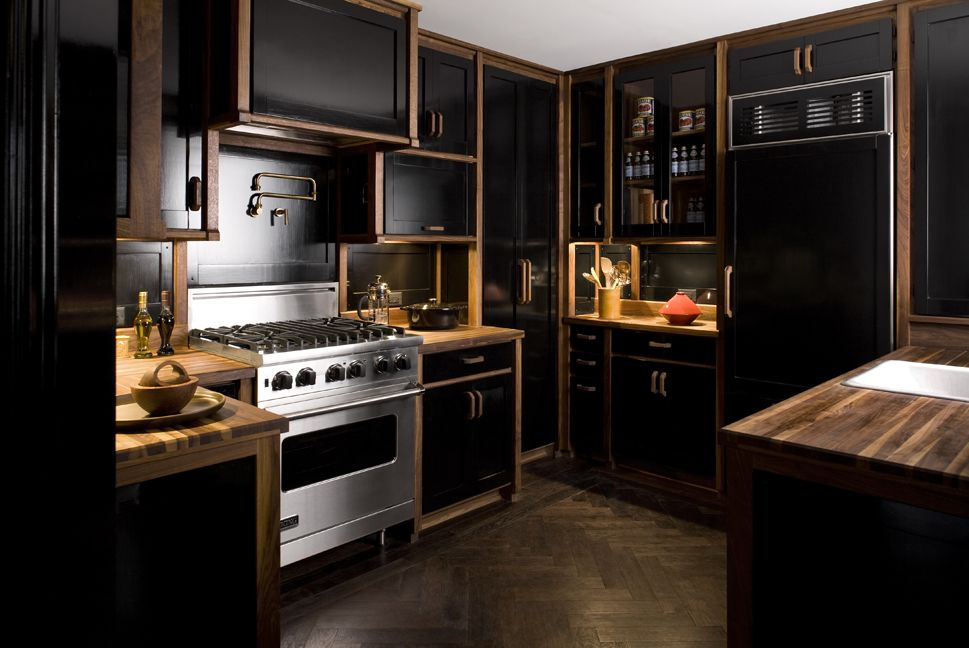 20 black kitchens that will change your mind about using for Kitchen paint colors with dark wood cabinets