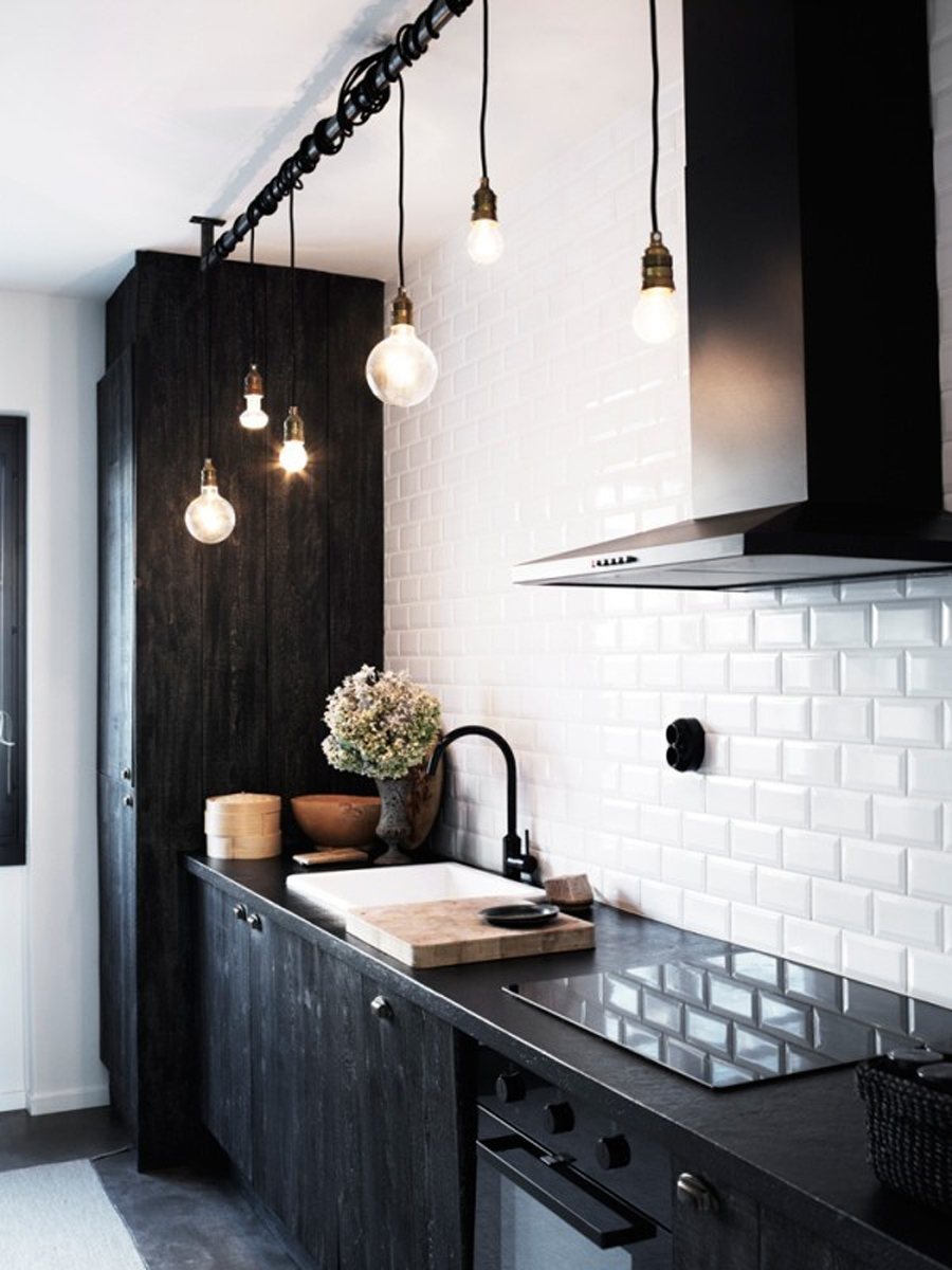 Black Kitchen Cupboards And Subway Tiles