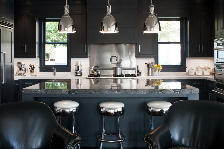 20 black kitchens that will change your mind about using for Dark blue kitchen paint