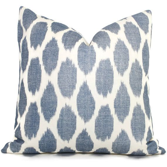 Blue ikat throw pillows