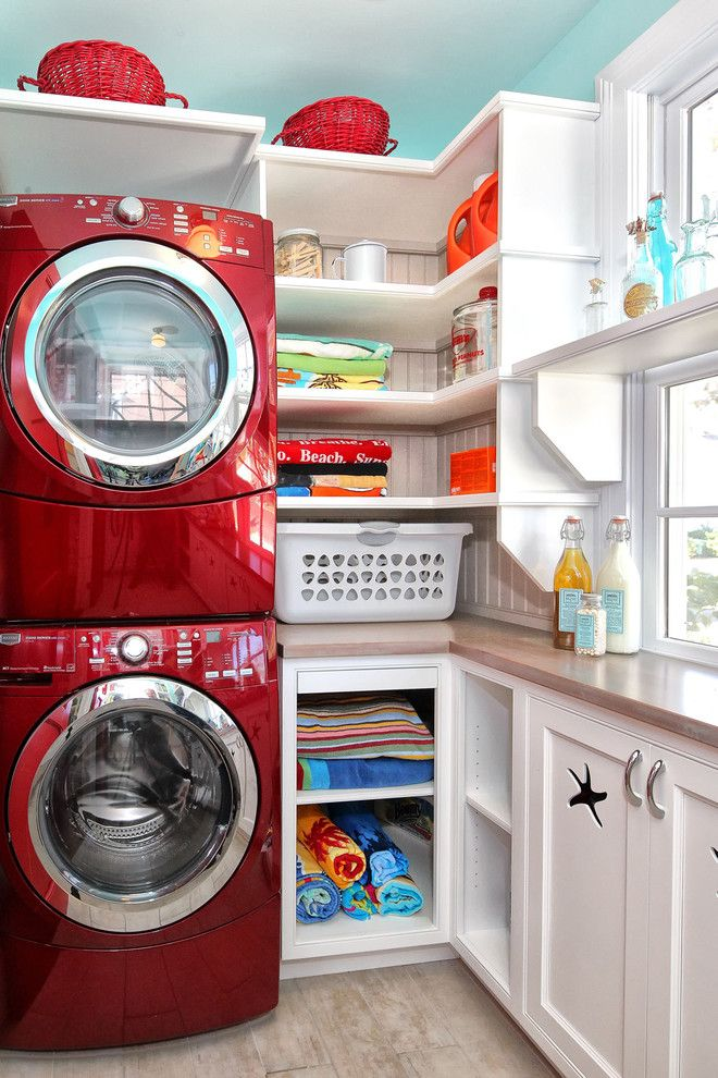 Bold Red Laundry room Washer