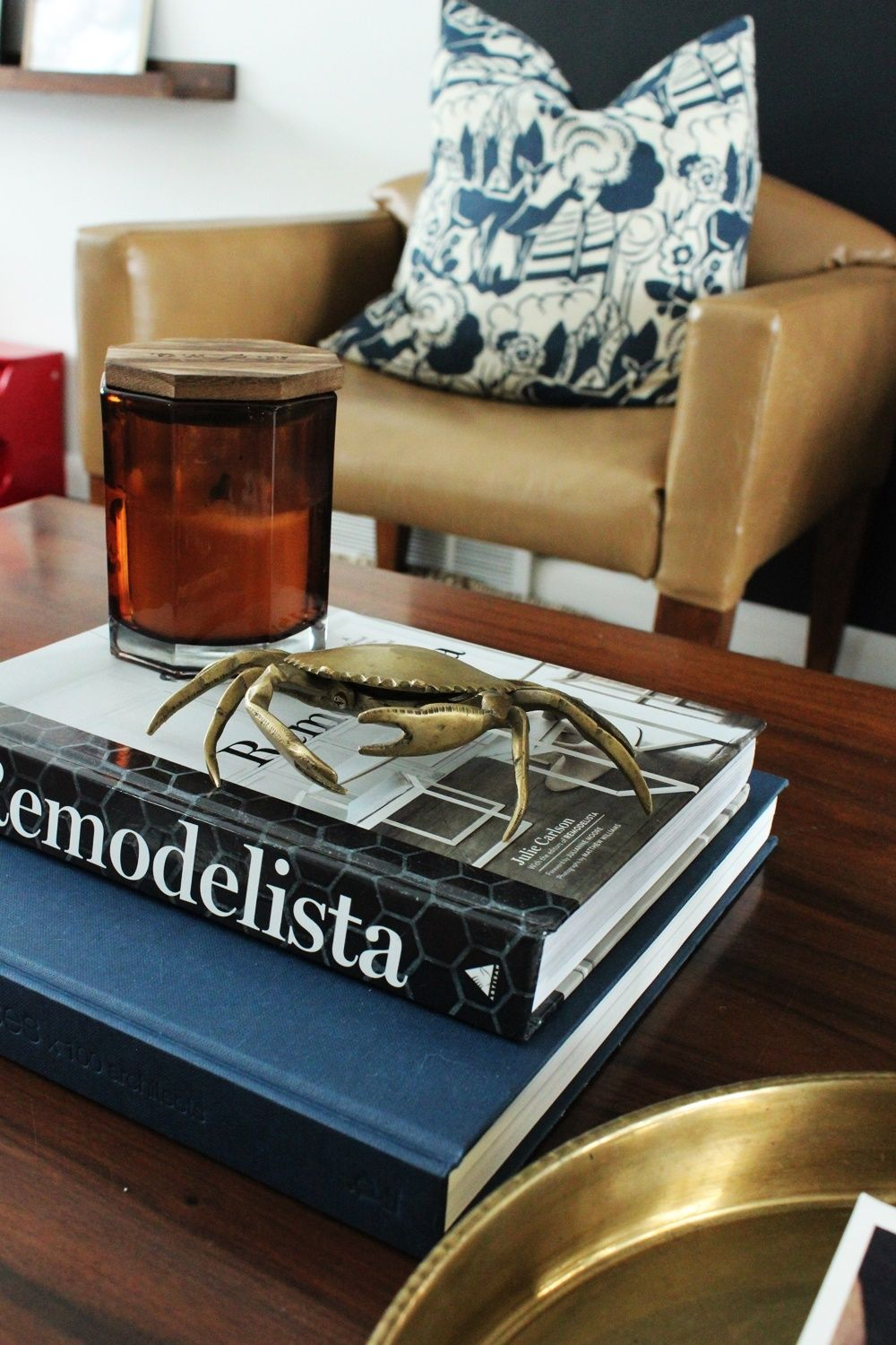 Brass coffee table decor