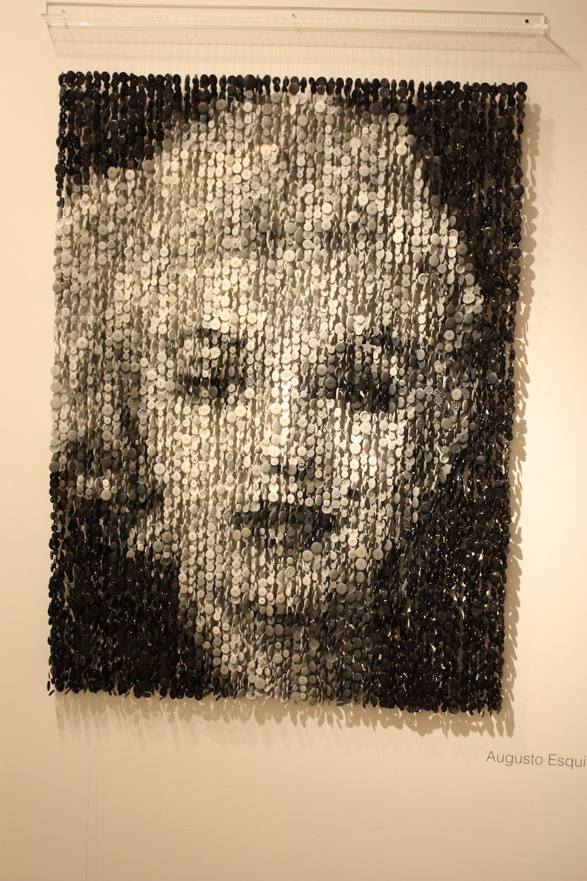 Large and unusual, this suspended button portrait of Marilyn Monroe is by Augusto Esquivel.