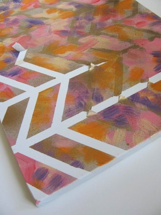 Attractive Canvas Spray Paint Ideas Part - 7: Canvas Geometric Lines
