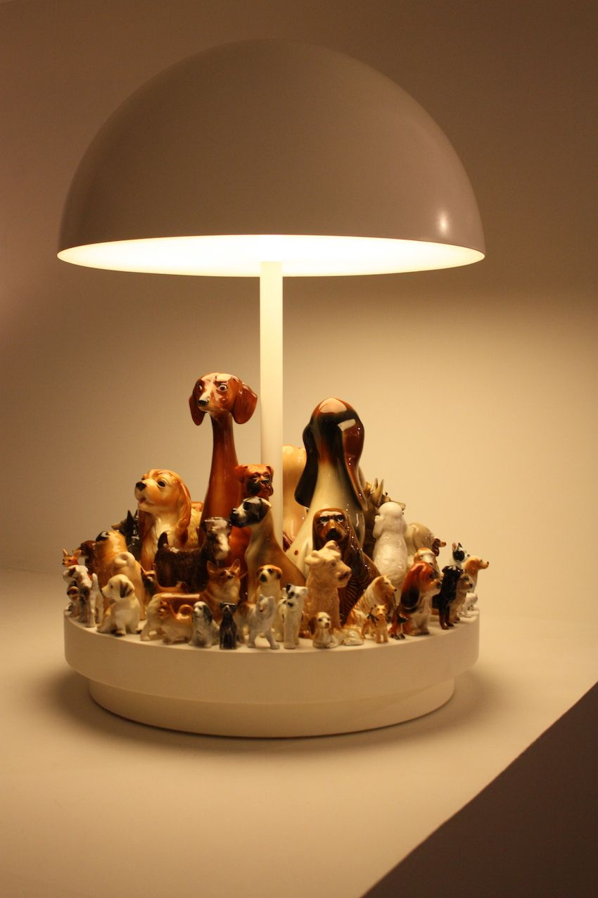 This kitschy and fun lamp highlights a retro collection of dog figurines, presented by the Carpenter's Workshop Gallery. Don't like dogs? I'm sure you could create a version with cats...or anything else for that matter.