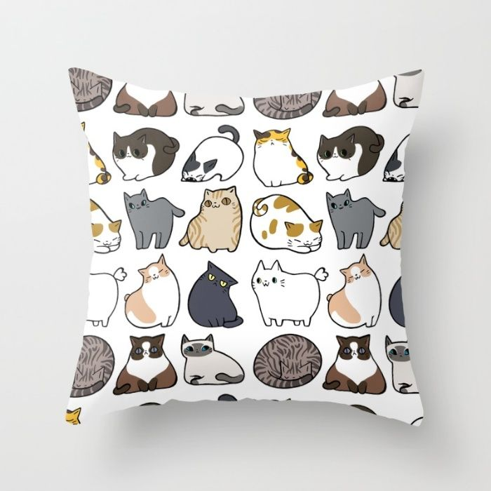 Cartoon cat throw pillow
