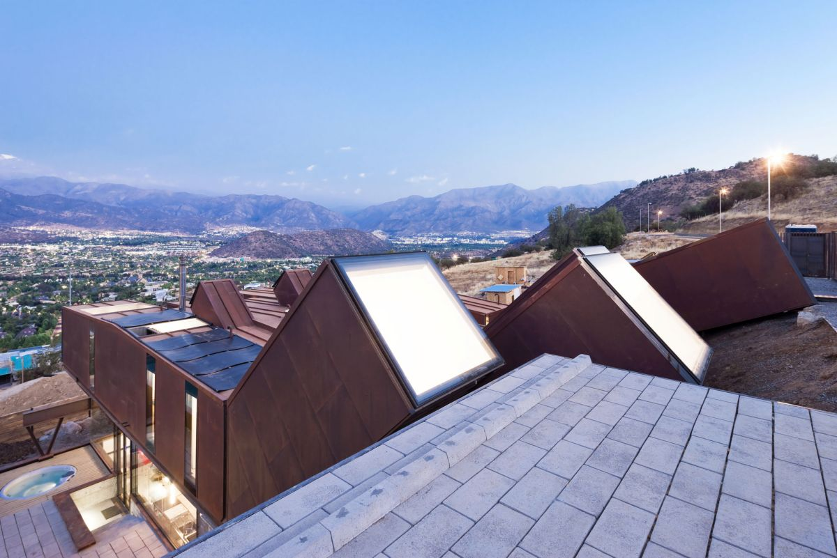 Catterpillar House in the Andes rooftop view