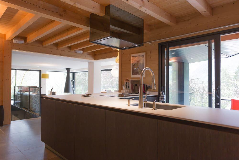Chalet SOLEYÂ in France open kitchen wood ceiling