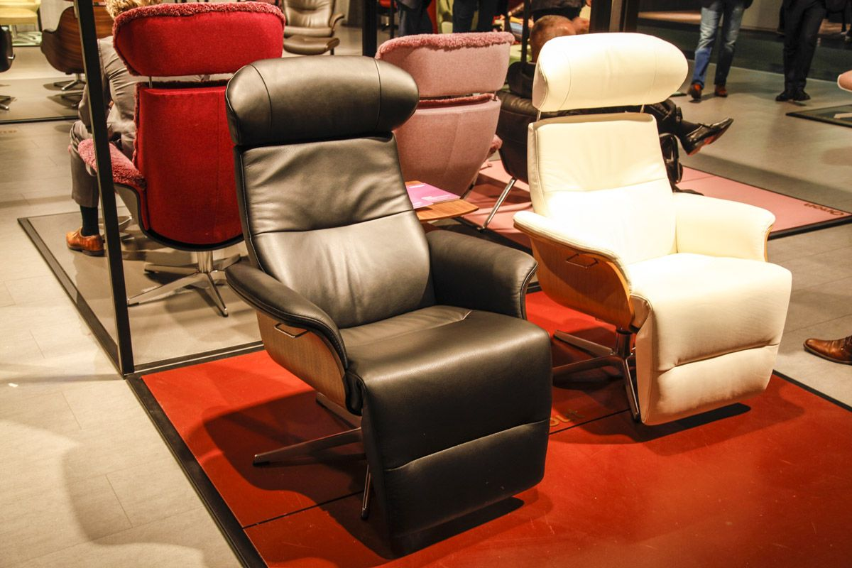 Classic Black and White leather Conform models with integral footrest