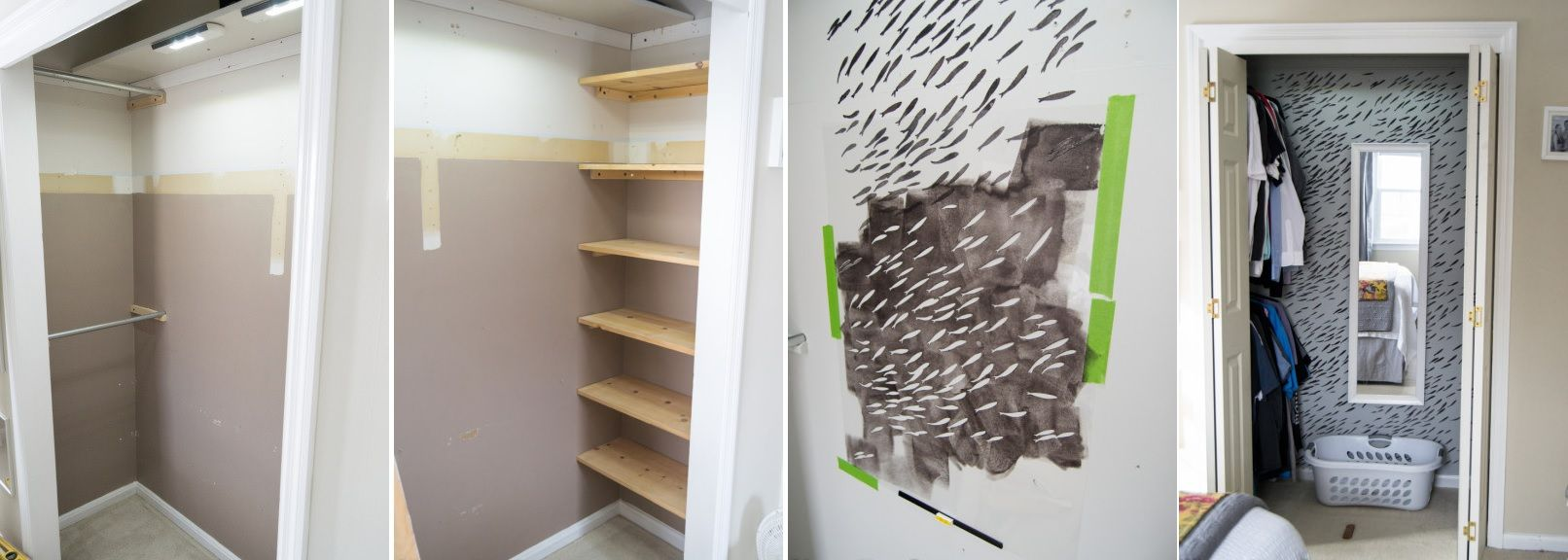 Closet makeover with a stencil paint and reorganization