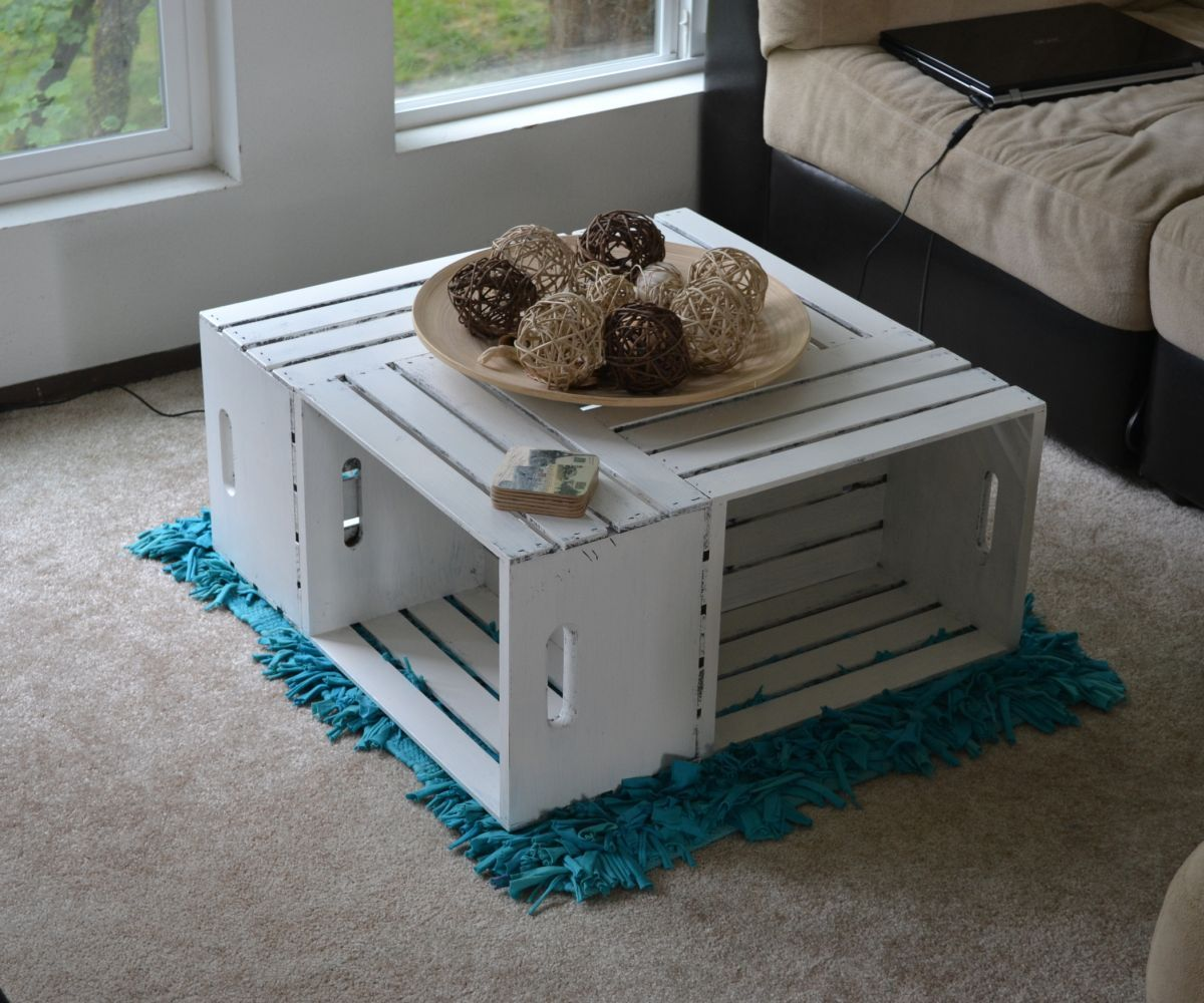 Diy crate console table - Coffee Table From Wood Crates