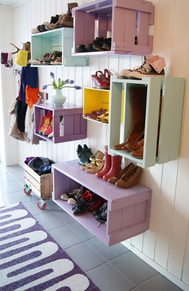 Colorful Mudroom Design Storage