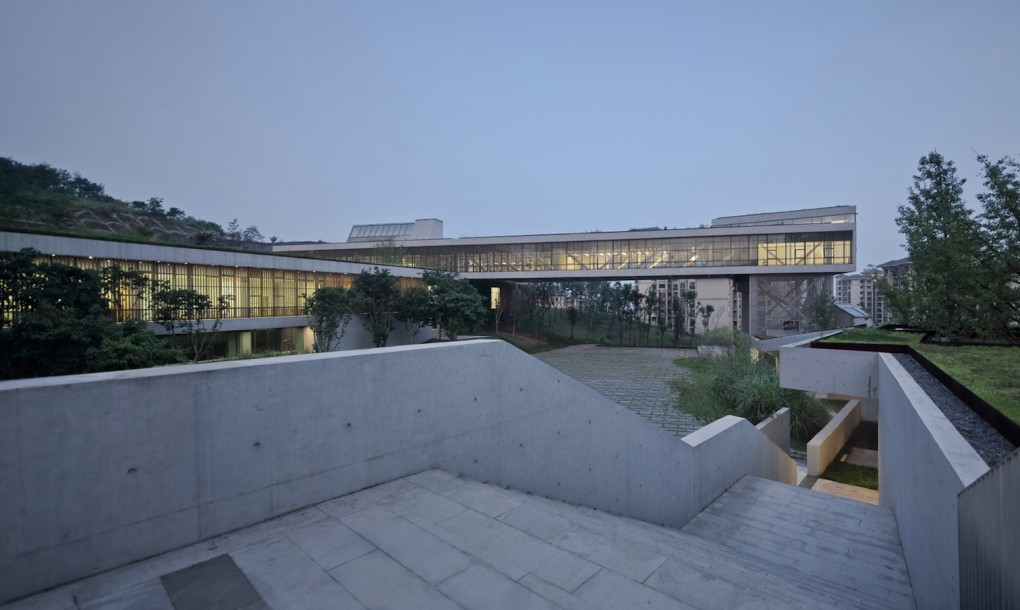 Concrete and grass for Chongqing Taoyuanju Community Cente Design