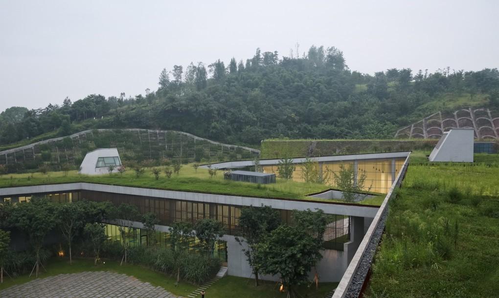 Concrete and grass for Chongqing Taoyuanju Community Cente Inside
