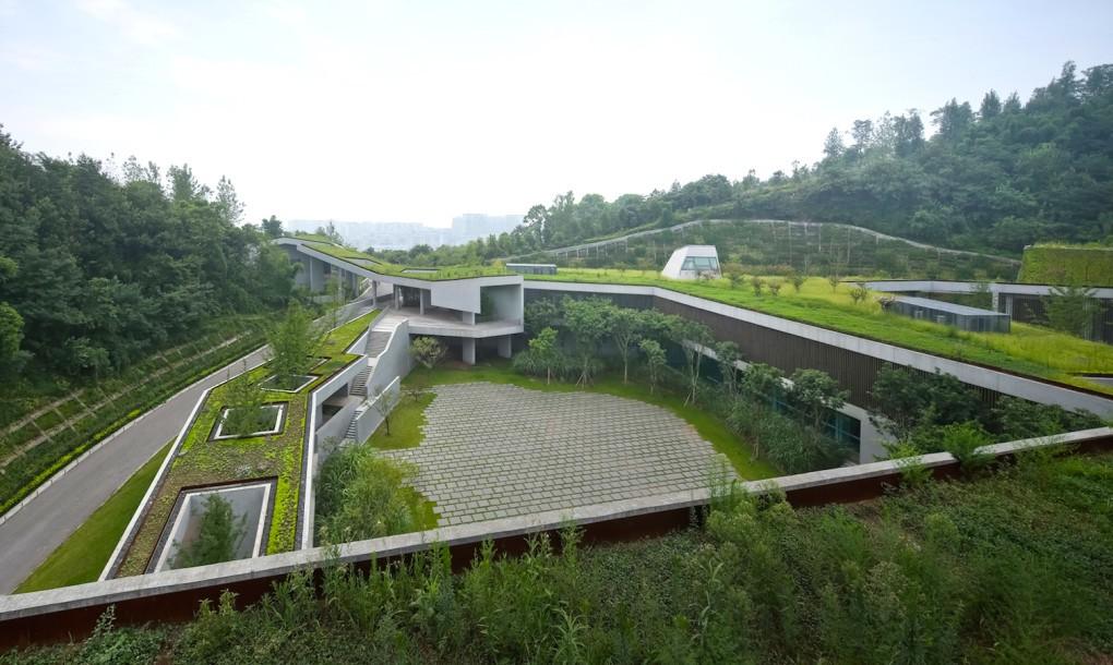 Concrete and grass for Chongqing Taoyuanju Community Cente View