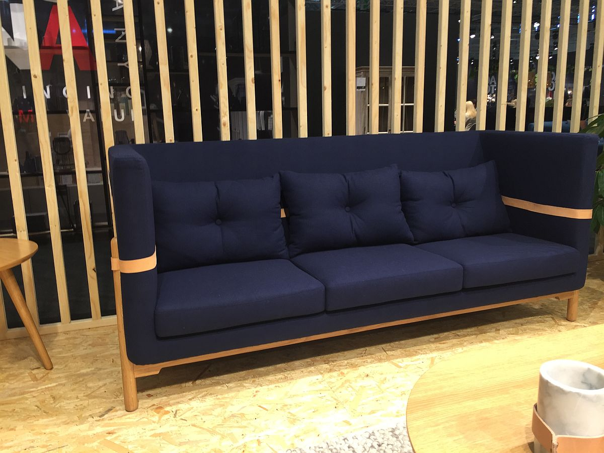 Contemporary feeling three seats blue couch