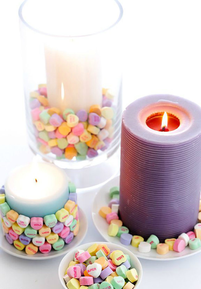 Conversation heart candles