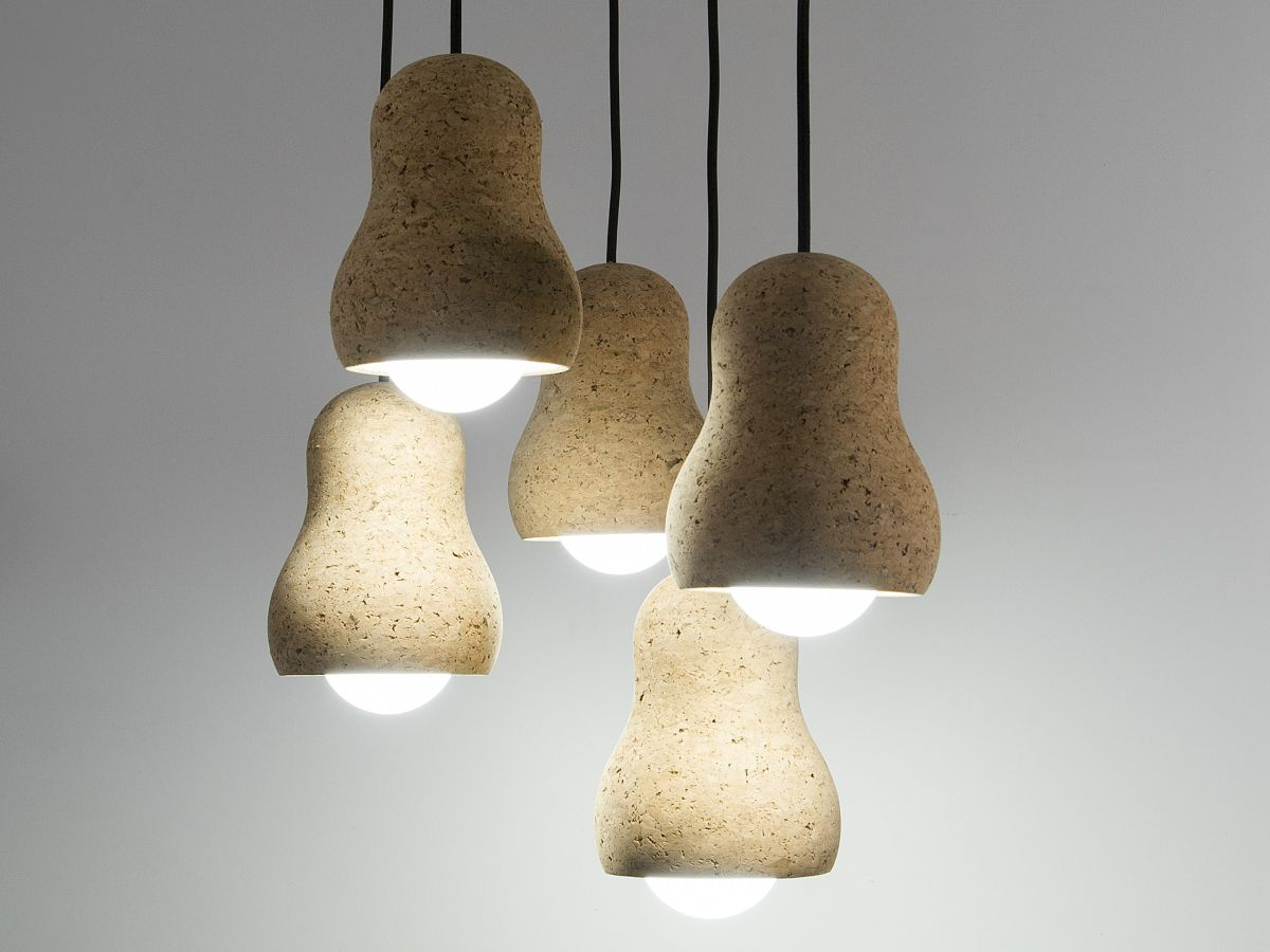 Cork pendant lamps