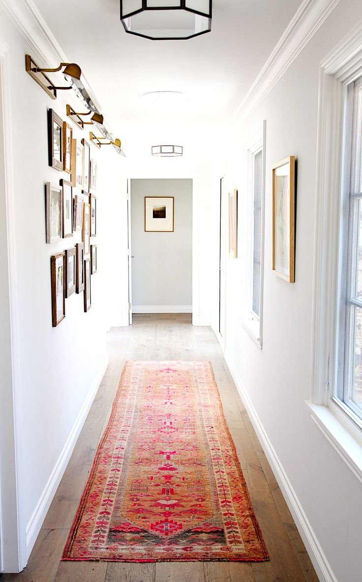 Cozy and calm narrow hallway in white