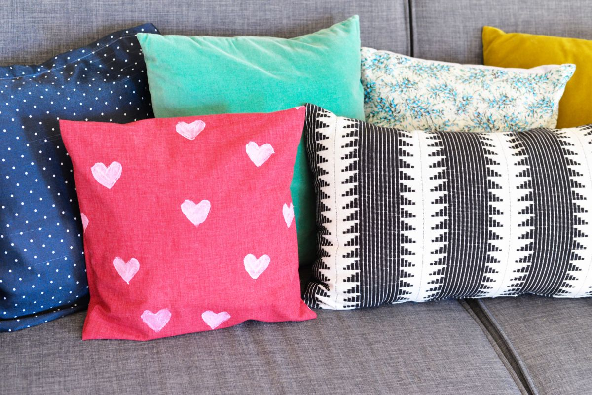 DIY Heart Stamped Pillow Cover